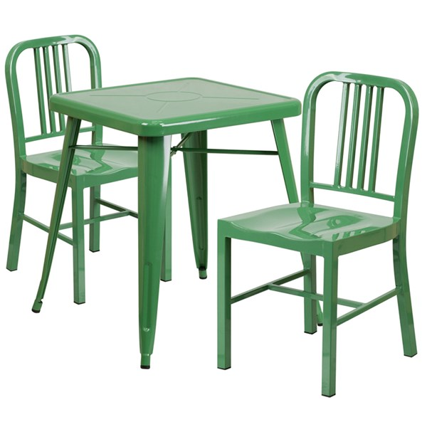 Green Metal Indoor-Outdoor Table Set w/2 Vertical Slat Back Chairs FLF-CH-31330-31200-18-GG-DR-S7