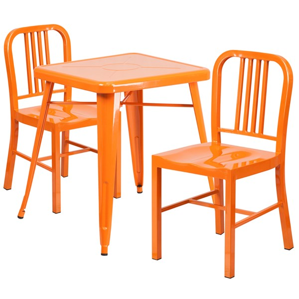 Orange Metal Indoor-Outdoor Table Set w/2 Vertical Slat Back Chairs FLF-CH-31330-31200-18-GG-DR-S3