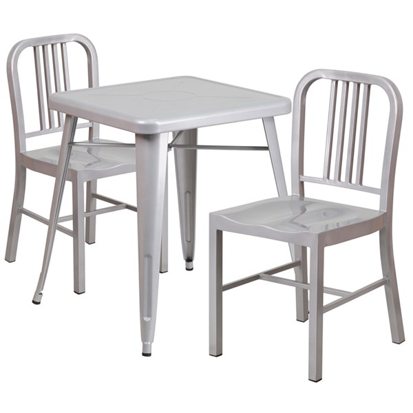 Silver Metal Indoor-Outdoor Table Set w/2 Vertical Slat Back Chairs FLF-CH-31330-31200-18-GG-DR-S4