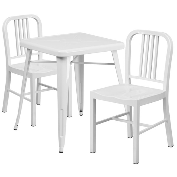 White Metal Indoor-Outdoor Table Set w/2 Vertical Slat Back Chairs FLF-CH-31330-31200-18-GG-DR-S2