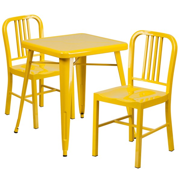 Yellow Metal Indoor-Outdoor Table Set w/2 Vertical Slat Back Chairs FLF-CH-31330-31200-18-GG-DR-S8