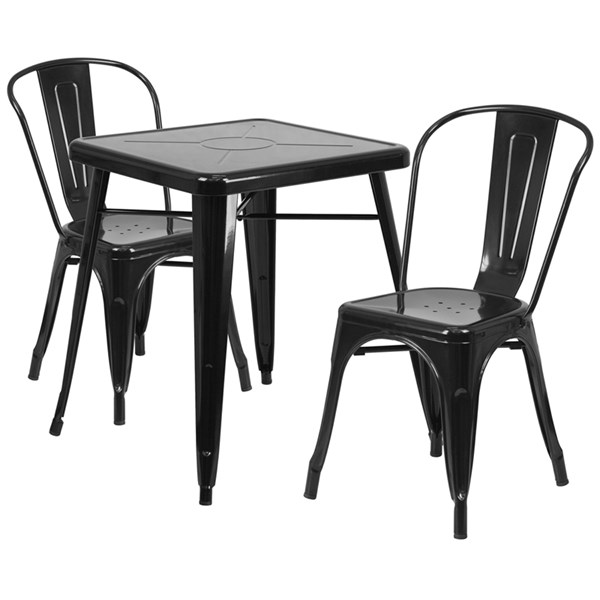 Black Metal Indoor-Outdoor Table Set w/2 Stack Chairs FLF-CH-31330-31230-GG-DR-S1