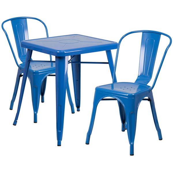 Blue Metal Indoor-Outdoor Table Set w/2 Stack Chairs FLF-CH-31330-31230-GG-DR-S6