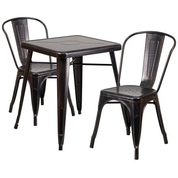Black-Antique Gold Metal Indoor-Outdoor Table Set w/2 Stack Chairs FLF-CH-31330-31230-GG-DR-S9