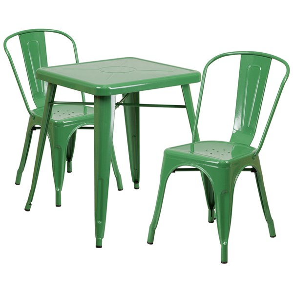 Green Metal Indoor-Outdoor Table Set w/2 Stack Chairs FLF-CH-31330-31230-GG-DR-S7