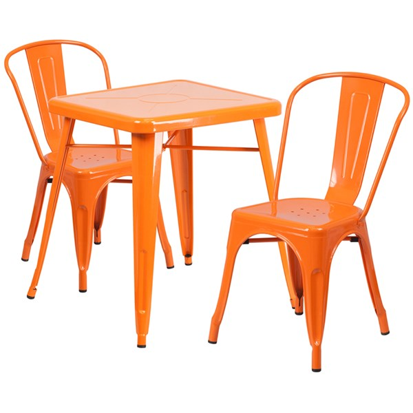 Orange Metal Indoor-Outdoor Table Set w/2 Stack Chairs FLF-CH-31330-31230-GG-DR-S3