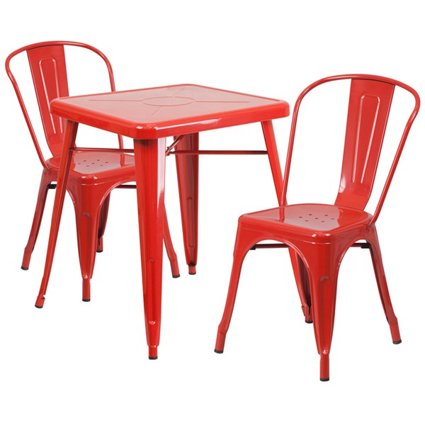 Red Metal Indoor-Outdoor Table Set w/2 Stack Chairs FLF-CH-31330-31230-GG-DR-S5