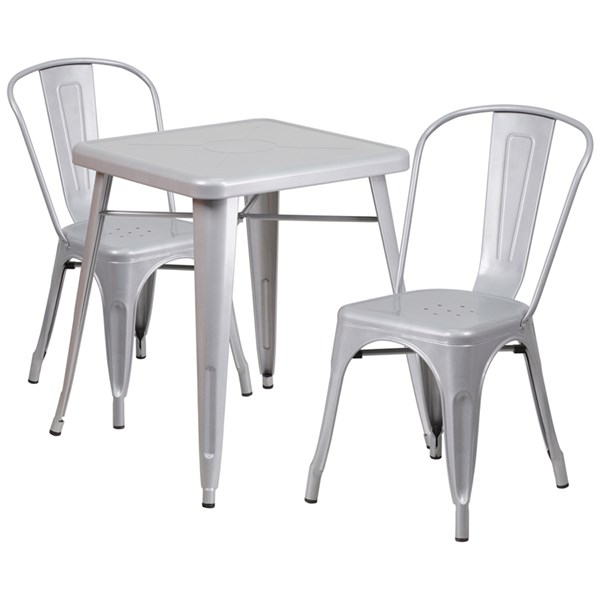 Silver Metal Indoor-Outdoor Table Set w/2 Stack Chairs FLF-CH-31330-31230-GG-DR-S4