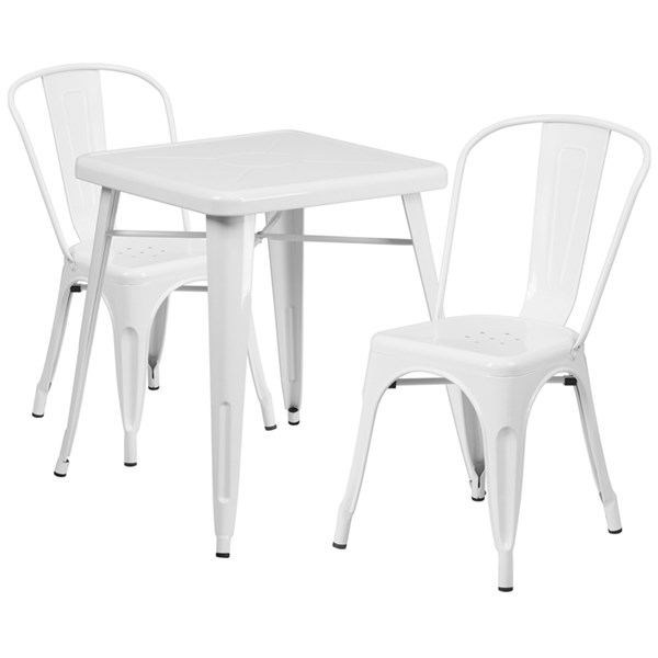 White Metal Indoor-Outdoor Table Set w/2 Stack Chairs FLF-CH-31330-31230-GG-DR-S2