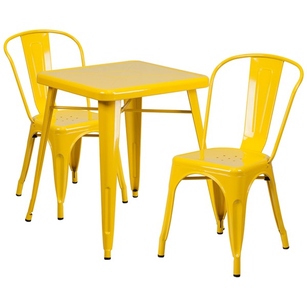Yellow Metal Indoor-Outdoor Table Set w/2 Stack Chairs FLF-CH-31330-31230-GG-DR-S8