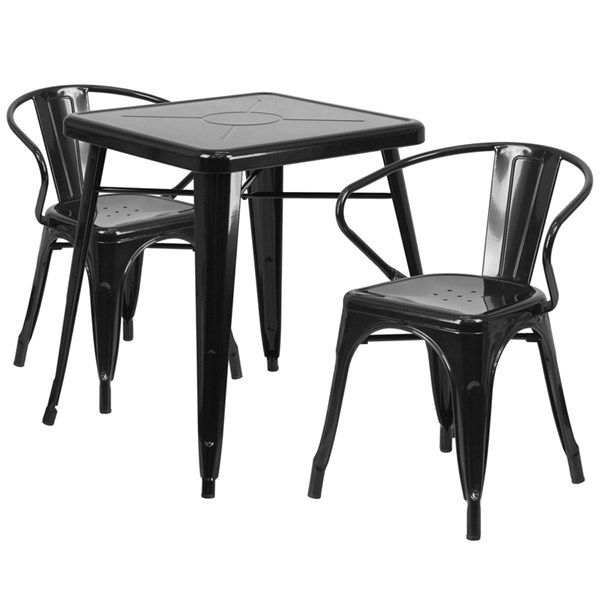 Metal Rubber Solid Back & Armless Dining Room Set FLF-CH-31330-GG-DR2