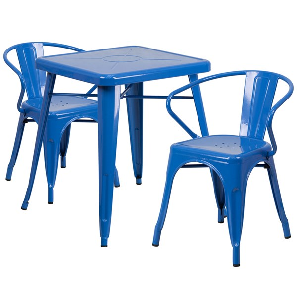 Blue Metal Indoor-Outdoor Table Set w/2 Arm Chairs FLF-CH-31330-31270-GG-DR-S6