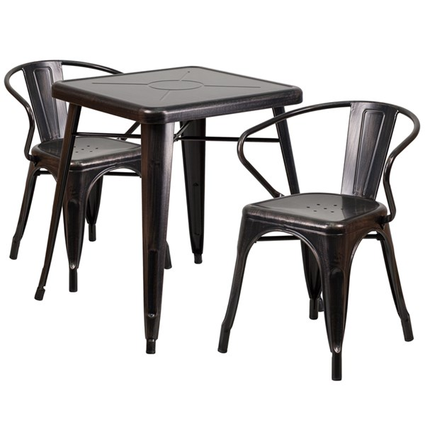 Black-Antique Gold Metal Indoor-Outdoor Table Set w/2 Arm Chairs FLF-CH-31330-31270-GG-DR-S9