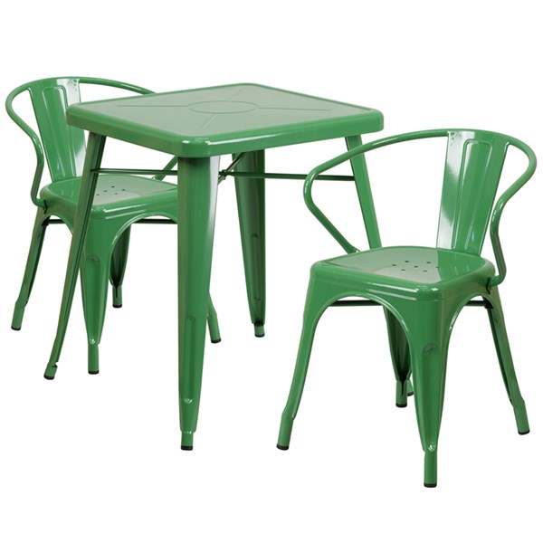 Green Metal Indoor-Outdoor Table Set w/2 Arm Chairs FLF-CH-31330-31270-GG-DR-S7