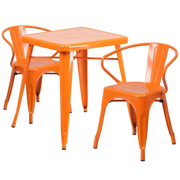 Orange Metal Indoor-Outdoor Table Set w/2 Arm Chairs FLF-CH-31330-31270-GG-DR-S3