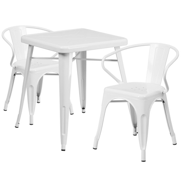 White Metal Indoor-Outdoor Table Set w/2 Arm Chairs FLF-CH-31330-31270-GG-DR-S2