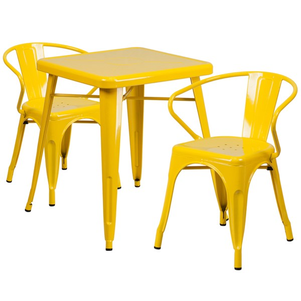Yellow Metal Indoor-Outdoor Table Set w/2 Arm Chairs FLF-CH-31330-31270-GG-DR-S8