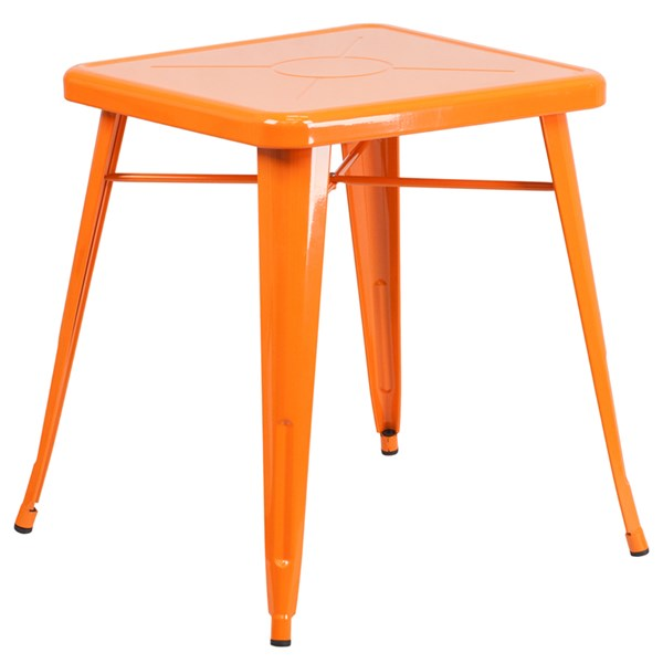 24 Inch Square Orange Metal Indoor-Outdoor Table FLF-CH-31330-29-OR-GG