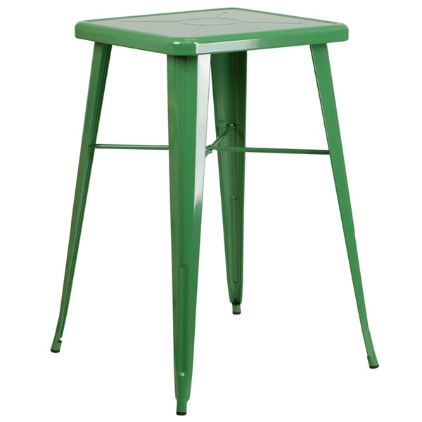 Flash Furniture 24 Inch Square Green Indoor Outdoor Bar Height Table FLF-CH-31330-GN-GG