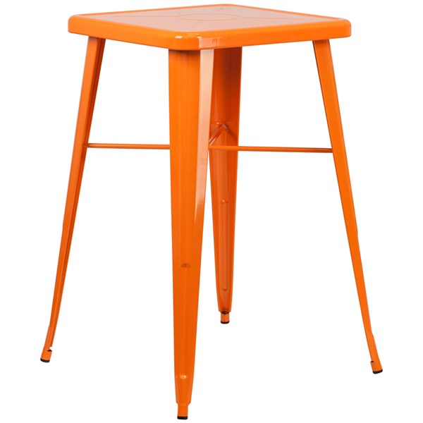 Flash Furniture 24 Inch Square Orange Indoor Outdoor Bar Height Table FLF-CH-31330-OR-GG