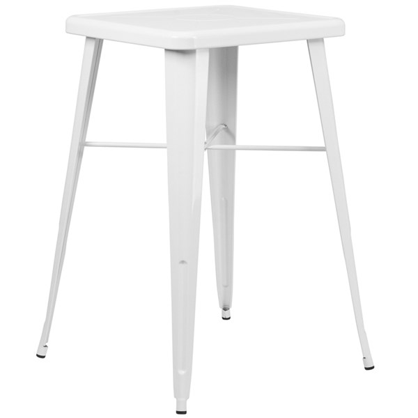 24 Inch Square White Metal Indoor-Outdoor Bar Height Table FLF-CH-31330-WH-GG