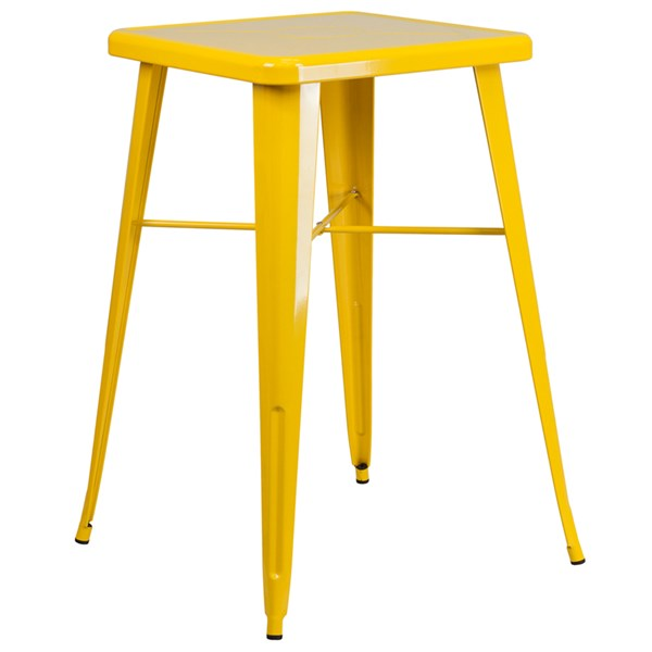 24 Inch Square Yellow Metal Indoor-Outdoor Bar Height Table FLF-CH-31330-YL-GG