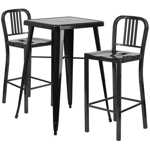 Black Metal Indoor-Outdoor Bar Table Set w/2 Slat Back Barstools FLF-CH-31330B-31200-30-GG-BAR-S1