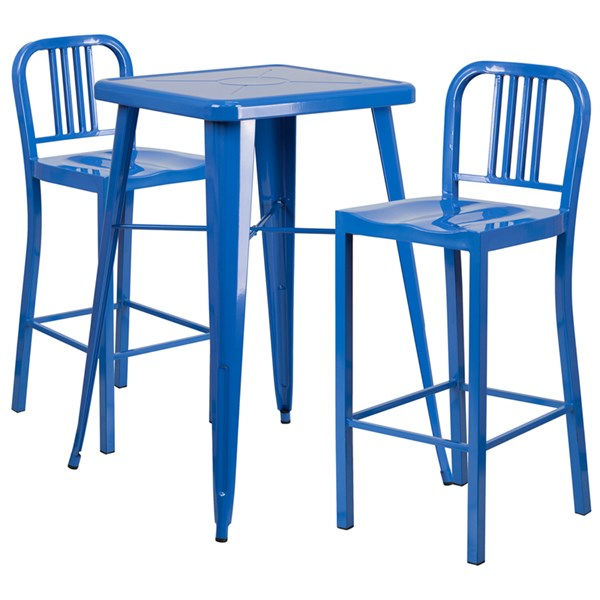 Metal Indoor-Outdoor Bar Table Set w/2 Slat Back Barstools FLF-CH-31330B-31200-30-GG-BAR-S