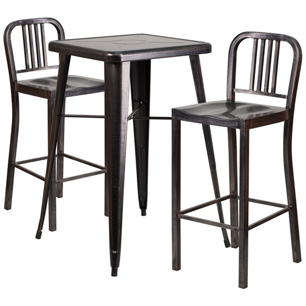 Black Gold Metal Indoor-Outdoor Bar Table Set w/2 Slat Back Barstools FLF-CH-31330B-31200-30-GG-BAR-S9