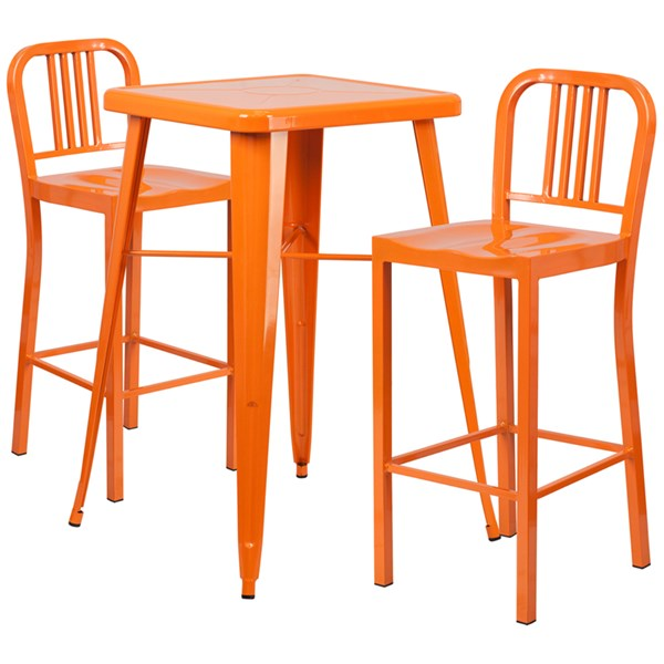 Orange Metal Indoor-Outdoor Bar Table Set w/2 Slat Back Barstools FLF-CH-31330B-31200-30-GG-BAR-S3