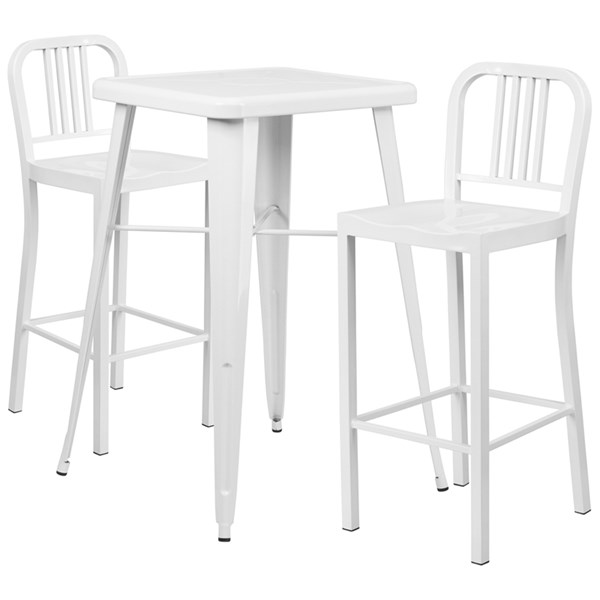 White Metal Indoor-Outdoor Bar Table Set w/2 Slat Back Barstools FLF-CH-31330B-31200-30-GG-BAR-S2