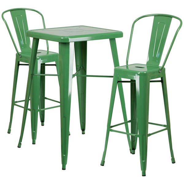 Green Metal Indoor-Outdoor Bar Table Set w/2 Barstools FLF-CH-31330B-31320-30GB-GG-BAR-S7