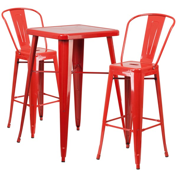 Red Metal Indoor-Outdoor Bar Table Set w/2 Barstools FLF-CH-31330B-31320-30GB-GG-BAR-S5
