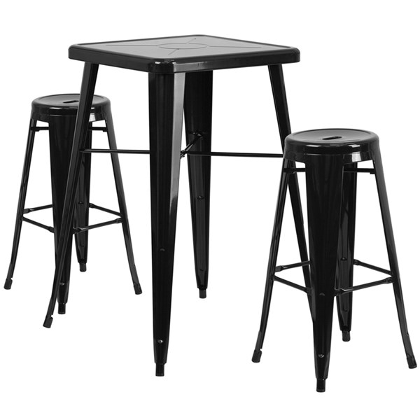 Black Metal Plastic Rubber Indoor Outdoor Bar Table Set FLF-CH-31330B-31350-30RD-GG-BAR-S1