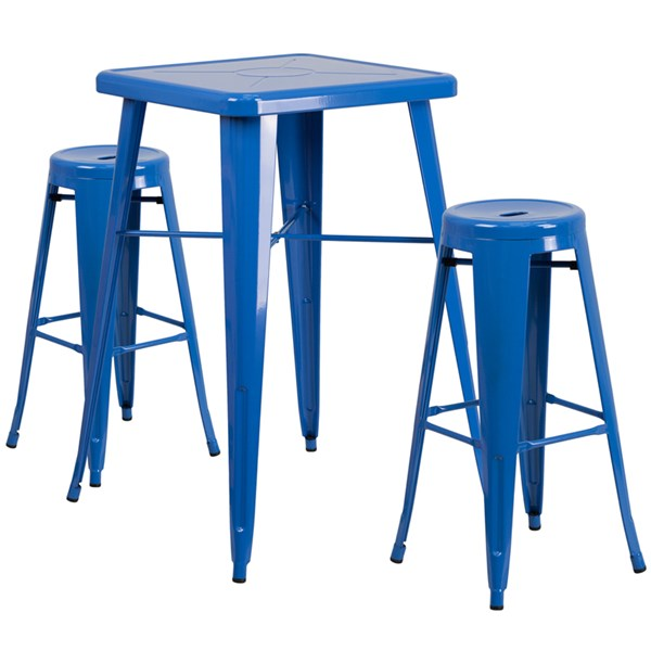 Blue Metal Indoor Outdoor Bar Table Set W/2 Backless Barstools FLF-CH-31330B-31350-30RD-GG-BAR-S6