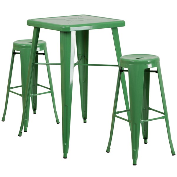 Green Metal Plastic Indoor Outdoor Bar Table Set FLF-CH-31330B-31350-30RD-GG-BAR-S7