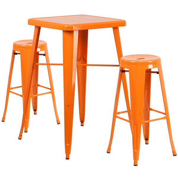 Orange Metal Bar Table Set W/2 Backless Barstools FLF-CH-31330B-31350-30RD-GG-BAR-S3