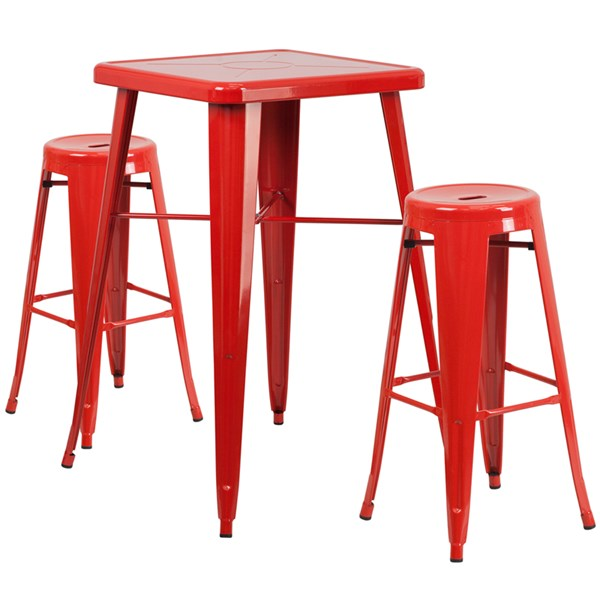 Red Metal Indoor Outdoor 3pc Bar Complete Set W/Round Bar Stool FLF-CH-31330B-31350-30RD-GG-BAR-S5