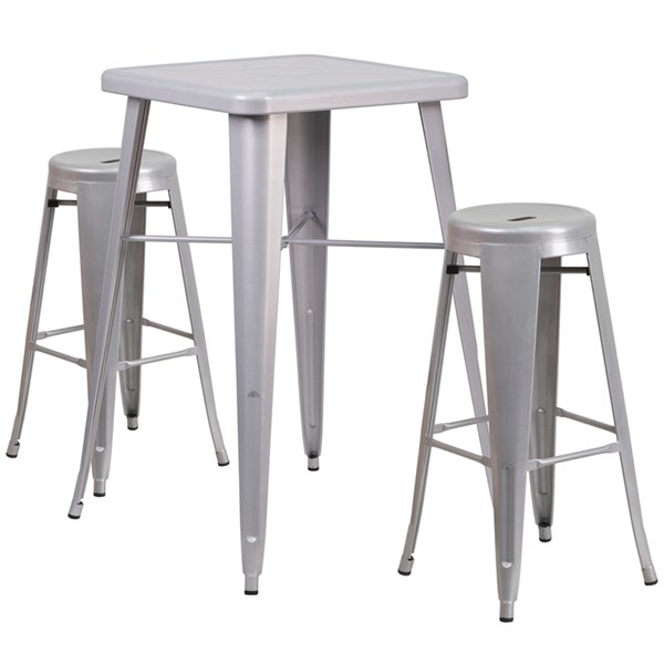 Metal Rubber Indoor-Outdoor Bar Table Set W/2 Backless Barstools FLF-CH-31330B-31350-30RD-GG-BAR-S4