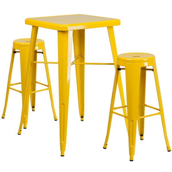Yellow Metal Indoor-Outdoor Bar Table Set w/2 Backless Barstools FLF-CH-31330B-31350-30RD-GG-BAR-S8