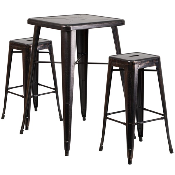 Black Gold Metal Plastic Rubber Bar Table Set W/2 Backless Barstools FLF-CH-31330B-31320-30SQ-GG-BAR-S9