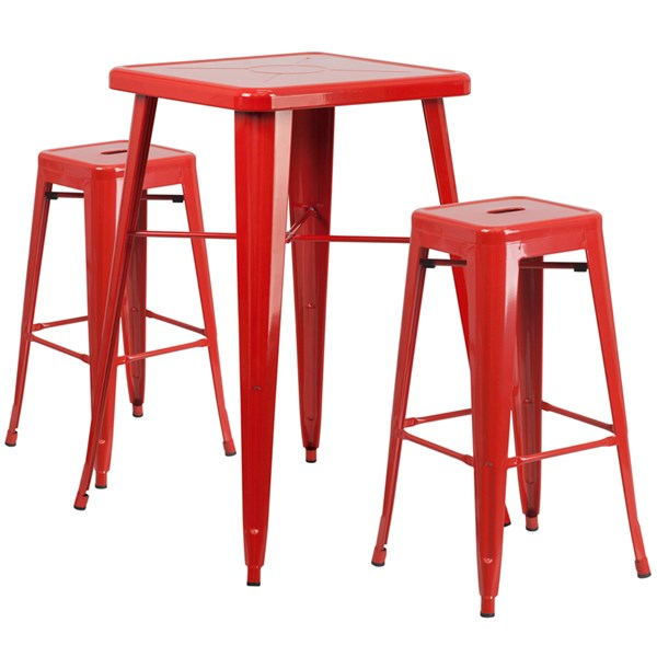 Red Metal Indoor Outdoor 3pc Bar Complete Set W/Square Bar Stools FLF-CH-31330B-31320-30SQ-GG-BAR-S5