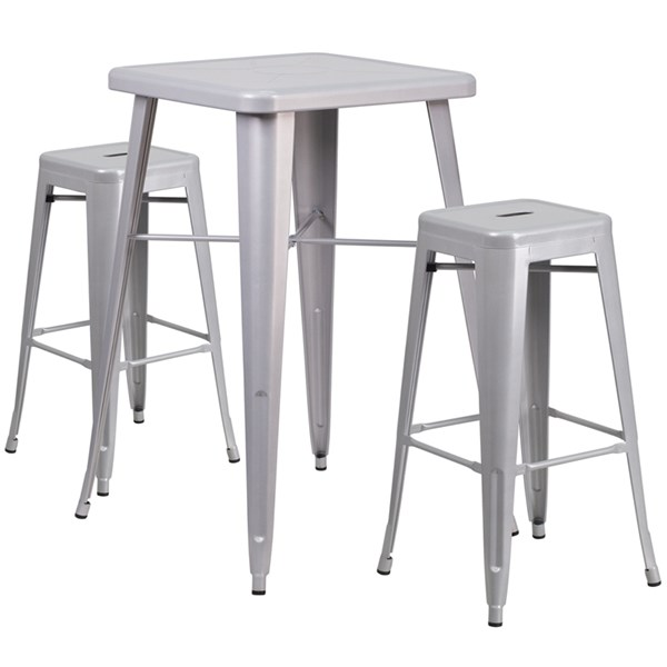 Silver Powder Coat Indoor-Outdoor Bar Table Set W/2 Backless Barstools FLF-CH-31330B-31320-30SQ-GG-BAR-S4
