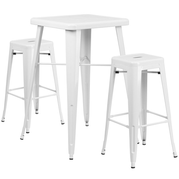 White Metal Indoor-Outdoor Bar Table Set w/2 Backless Barstools FLF-CH-31330B-31320-30SQ-GG-BAR-S2