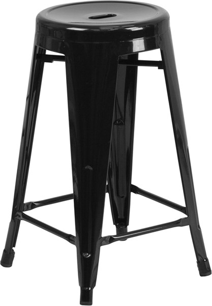 24 Inch High Backless Metal Indoor-Outdoor Counter Height Stool FLF-CH-31350-24-GG-BS-VAR