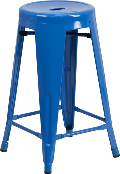 24 Inch High Blue Metal Indoor Outdoor Counter Height Stool FLF-CH-31350-24-BL-GG