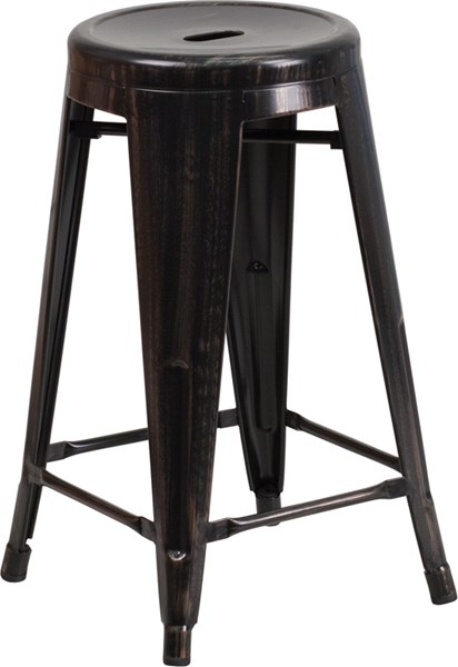 24 Inch Backless Black Gold Metal Indoor-Outdoor Counter Height Stool FLF-CH-31350-24-BQ-GG