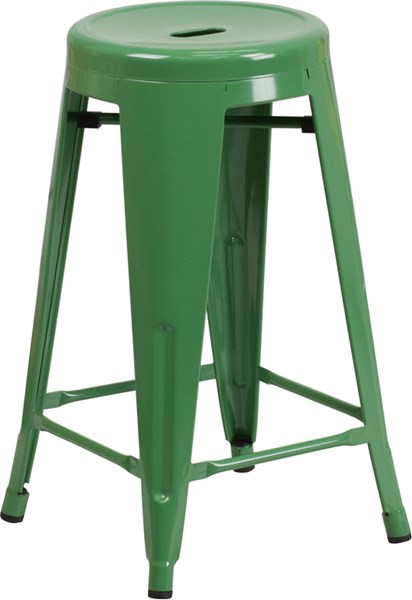 24 Inch High Green Metal Indoor Outdoor Counter Height Stool FLF-CH-31350-24-GN-GG