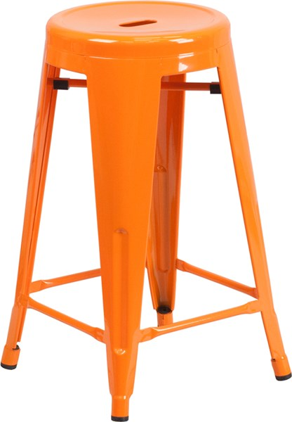 24 Inch High Backless Orange Metal Indoor-Outdoor Counter Height Stool FLF-CH-31350-24-OR-GG