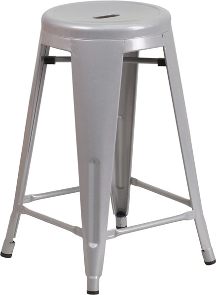 24 Inch High Backless Silver Metal Indoor-Outdoor Counter Height Stool FLF-CH-31350-24-SIL-GG